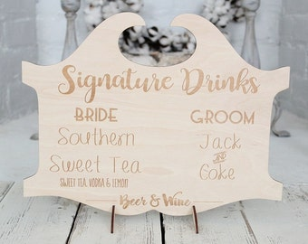 Signature Drinks Sign | Bar Sign | Rustic Wedding Sign | Engraved Sign | Drink Sign