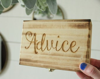 Advice Box | Rustic Wood Advice Box | Advice For The Couple Box