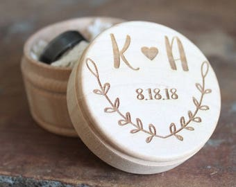 Engraved Rustic Wedding Ring Box | Vine Engraved Ring Box | Ring Box With Initials and Date | Free Shipping