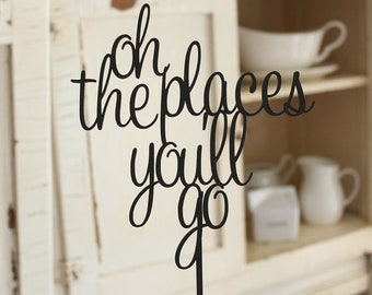 oh the places you'll go Cake Topper | Graduation Cake Topper | Free Shipping