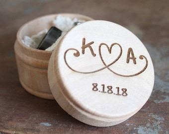 Ring Box With Initials | Wedding Ring Box | Engraved Ring Box | Free Shipping