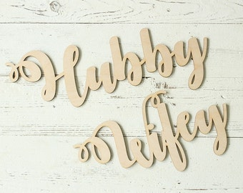 Hubby and Wifey Chair Signs | Wedding Chair Signs | Hubby Sign | Wifey Sign