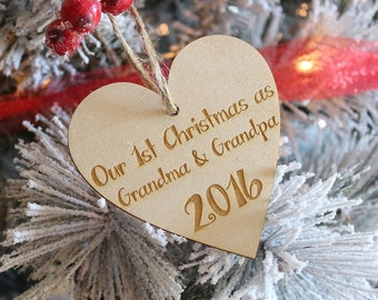 Grandma & Grandpa 1st Christmas Ornament | New Baby Ornament | Birth Announcement Ornament | Grandparents Gift | Wood Ornament 2019