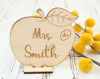 Teacher Desk Sign | Teacher Appreciation Gift | First Day of School Gift | Last Day of School Gift | Apple Shaped Teacher Gift