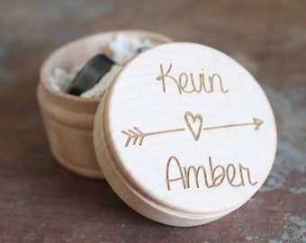 Rustic Engraved Ring Box | Wedding Ring Box With Names | Free Shipping