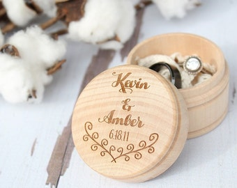Rustic Wedding Ring Box | Vine Engraved Ring Box | Ring Box With Names and Date | Free Shipping