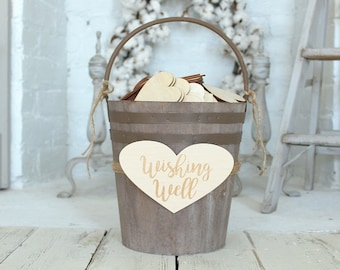 Wedding Wishing Well | Bucket List Bucket | Sign A Heart Bucket | Farmhouse Wedding | Guestbook Alternative