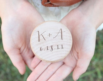 Ring Box | Rustic Wedding Ring Box | Wedding Ring Holder | Ring Box With Initials | Free Shipping