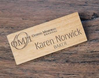 Alder Wood Name Badge