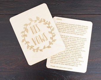 Vow Sheets | His Vows | Her Vows | Engraved Wedding Vow Sheets | Vow Book Alternative