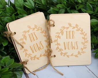 Vow Book Set | His Vow Book | Her Vow Book | Rustic Wood Engraved Vow Books
