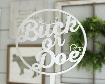 Buck or Doe Gender Reveal Cake Topper