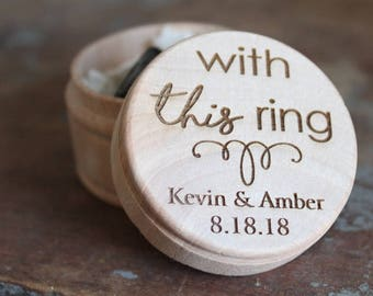 With This Ring Engraved Ring Box | Wedding Ring Box | Free Shipping