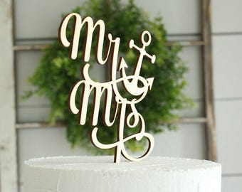 Mr and Mrs Anchor Cake Topper