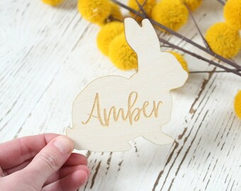 Easter Placecards | Wood Place Cards | Easter Table Setting | Easter Bunny Name Cards | Bunny Shape Easter Decor