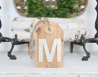 Monogram Tag Sign Farmhouse Decor
