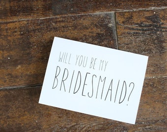 Will You Be My Bridesmaid Card | Elegant Wedding Card | Wedding Card | Greeting Card | Officiant Card