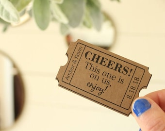Cheers Drink Ticket Wedding Bar Wedding Favor