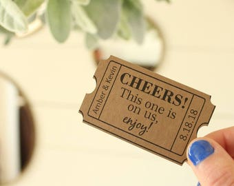 Cheers Drink Ticket | Wedding Bar | Wedding Favor | Custom Event Tickets | Bar Tickets