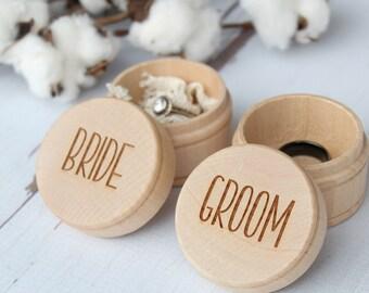 Bride and Groom Ring Box | Keepsake Ring Box | Engraved Rustic Wedding Ring Box | Free Shipping