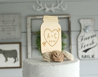 Mason Jar Cake Topper | Rustic Wedding Cake Topper | Wood Cake Topper | Rustic Bridal Shower | Free Shipping