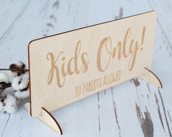 Kids Only Sign | Rustic Wedding Table | Wedding Seating Kids Table Sign | Free Shipping