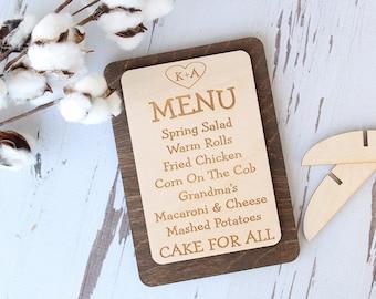 Menu Signs | Engraved Wood Menus | Rustic Wedding | Wedding Menus Signs | Table Menus