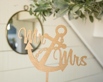 Anchor Cake Topper | Mr and Mrs Anchor Cake Topper | Wedding Cake Topper | Nautical Wedding | Free Shipping