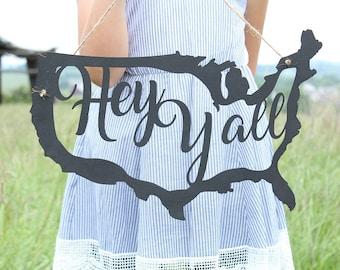 Hey Yall Door Sign | July Fourth Sign | America Sign | Door Hanger