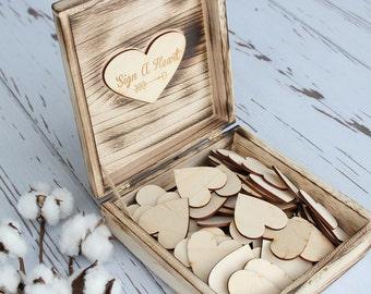 Sign A Heart Keepsake Box | Guestbook Hearts | Wedding Guestbook | Wood Hearts | Rustic Wedding Guestbook
