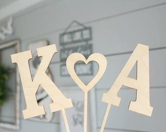 Cake Topper Letters | Rustic Wedding Cake Topper | Wood Cake Topper | Rustic Bridal Shower | Free Shipping