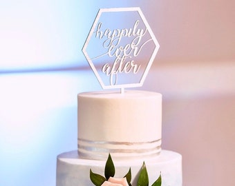 Happily Ever After Cake Topper | Geometric Cake Topper | Free Shipping