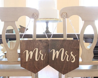 Mr and Mrs Banner | Mr and Mrs Chair Sign Set | Rustic Wedding Chair Signs | Rustic Wedding