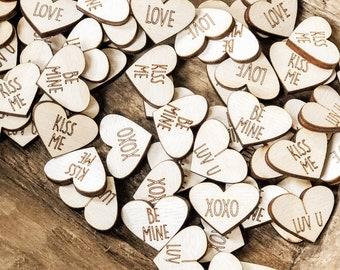 75 Mini Hearts   Valentines Confetti   Wood Hearts   Wood Confetti   Mini Wood Hearts   Farmhouse Valentines Decor