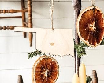 Oklahoma Ornament | Wood Ornament | Oklahoma State | State Ornament