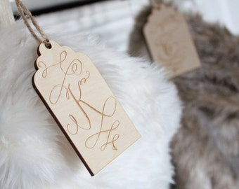 Engraved Stocking Tags |Farmhouse Christmas Stockings | Wood Stocking Tags