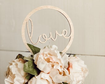 love cake topper | gold love cake topper | Circle love cake topper | wood cake topper |free shipping