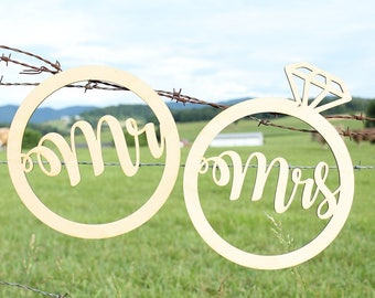 Wedding Ring Mr and Mrs Chair Signs | Wedding Chair Signs | Mr Sign Mrs Signs | Wood Chair Signs