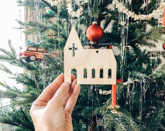 Church Ornament | Christmas Ornament | Wood Ornament | Church Cutout