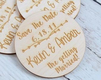 Engraved Save The Dates | Save The Date Magnets | Rustic Save The Dates