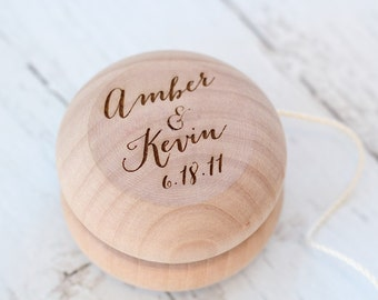 Engraved Yo-Yo | Wedding Games | Rustic Wedding Favors | Birthday Party Favors | Wood Yo-Yo