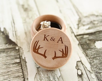 Buck Antler Ring Box with Initials | Rustic Wood Ring Box | Keepsake Ring Box | Free Shipping