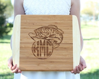 Bass Fish Bamboo Cutting Board Monogram Cutting Board Fathers Day Gift Groomsmen Gift Engraved Cutting Board Gifts For Him