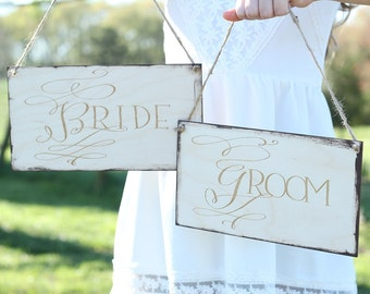 Bride and Groom Chair Sign Set   Rustic Wedding Chair Signs   Bride Sign   Groom Sign   Photo Prop