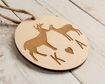 Kissing Buck and Doe Ornament Rustic Wedding Favors Christmas Ornament