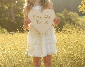 Here She Comes Sign | Wood Here She Comes Rustic Sign | Rustic Wedding Sign | Barn Wedding
