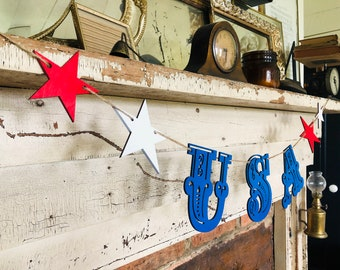 USA Banner | Farmhouse July 4th | July 4th Banner | Summer Home Decor | Patriotic Banner | July 4th Decor