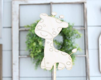 Giraffe Baby Cake Topper | Baby Shower Cake Topper | Zoo Animals Giraffe | Free Shipping