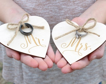 Mr and Mrs Wedding Ring Holders | Ring Bearer Ring Holder | Engraved Wood Heart Ring Holder | Rustic Wedding Ring Holder | Free Shipping