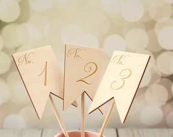 Banner Table Numbers | Rustic Wedding Table Numbers | Engraved Wedding Table Numbers | Table Number Signs | Table Number Centerpieces
